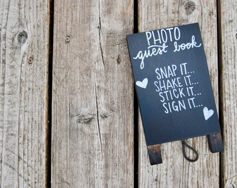 Photo Guest Book Sign - Wedding Guest Book Sign - Chalkboard Sign - Easel