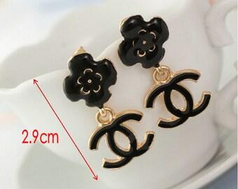 Chanel inspired Camellia flower  dangle earrings