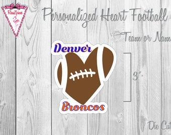 Personalized Heart Football - Die Cut