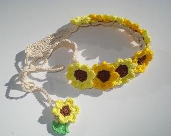 Sunflower Baby Headband, Toddler Sunflower Headband, Crochet Sunflower Headband, Kids Headband, Gift for Baby, Baby Hair Accessories
