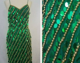 Emerald Green Vintage Beaded Fringe Dress/ Flapper/ Gold