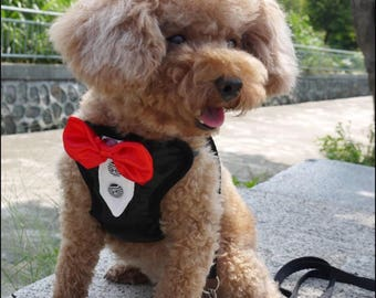 Tuxedo Wedding Dog Bow Tie Harness Tuxedo And Leash For Partys Days Out Amazing luxury Red Bowtie Tuxedo Dog Harness With Leash