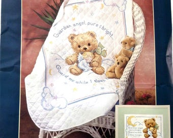 Vintage Baby Quilt Kit Embroidery Sunset 13065 Cuddly Bear Angel 1994 Cross Stitch