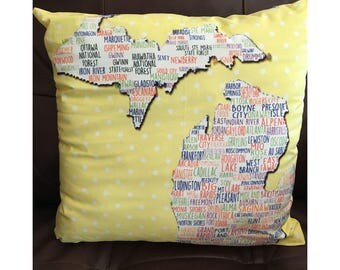 State of Michigan Pillow With Cities in Yellow
