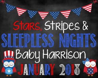 Stars Stripes and Sleepless Nights Pregnancy Announcement, July 4th Announcement, Pregnancy Announcement