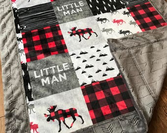 Little Man | Moose | Double sided Minky | Baby Blanket