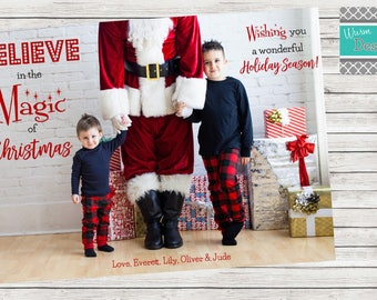 """Christmas Card """"Believe in the Magic"""" Single Sided Horizontal- Printable"""