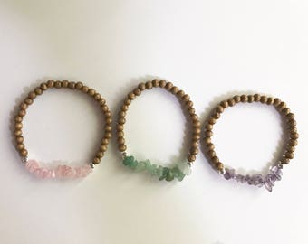 Stone Chip and Wood Beaded Bracelet Stack