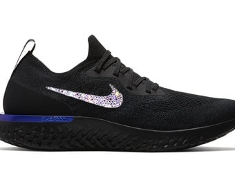 crystal Nike Epic React Flyknit Bling Shoes with Swarovski Elements Women's Running Shoes Black Racer Blue