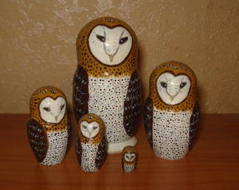 Set of 5pc hand painted wooden russian matryoshka nesting dolls BARN OWLS