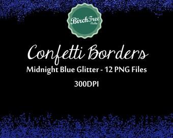 Confetti Clipart - Midnight Blue Confetti Glitter Clipart - Invitation - Scrapbooking - Christmas Decoration - Paper -  Border
