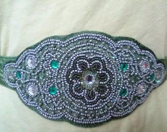 Green satin hand sewn beaded belt