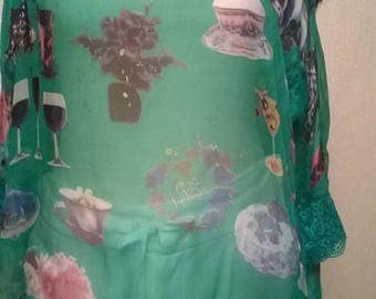 Tunic silk and lace green color