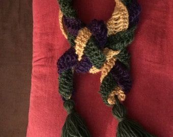 1860 Petersons Magazine three color knitted scarf