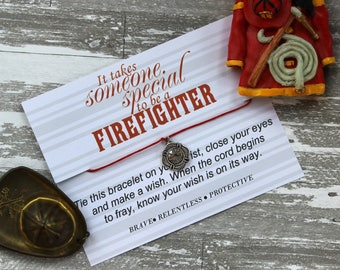 It Takes Someone Special To Be A Firefighter Wish Bracelet, Firefighter Jewelry, Wish Upon Your Wrist, Fireman Bracelet, Fire Department