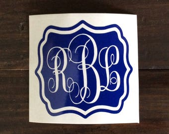Vine Monogram Decal, YETI Decal for Women, RTIC Decal, Tumbler Decal, Yeti Monogram Stickers, Custom Vinyl Stickers, Vinyl Decals for Cups