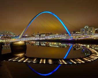 The Tyne at night 2, bridge, river, evening, lights, neon, photography, wall art