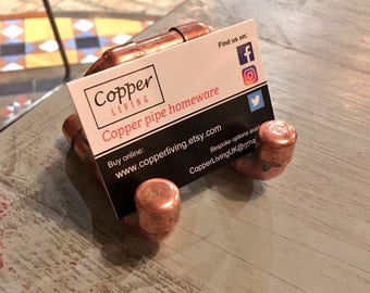 Copper business card holder, phone stand, copper pipe, stylish industrial office, multi-purpose