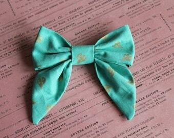 Sailor Golden Ladybug on Teal Fabric. Baby Girl Hair Bow. Alligator Clip. Nude Nylon Band