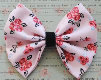 Pink Floral Fabric bow with Black Velvet Middle. Baby Girl Bow. Fabric and Velvet. Toddler Girl. Nylon Band or Alligator Clip.