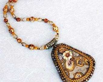 Autumn colours. Stomatolite stone pendant necklace.