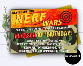 Nerf Party, Nerf Party Invitation, Nerf Invitation, Nerf Party Supplies, Nerf Party Printables, Nerf Birthday Party,Nerf Birthday Invitation