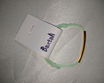 Adjustable Kids Mint Suede Cord Bracelet with Gold Square Tube Bead