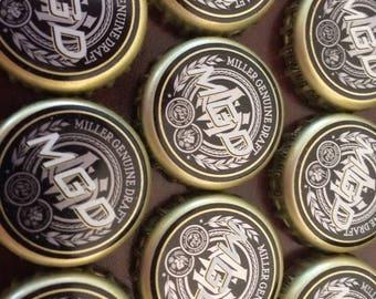 100 Lot MGD Miller Genuine Draft Beer Bottle Caps Crowns~No Dents! Clean!