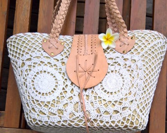 Nipah Crochet handbag with leather and crochet purse, handmade crochet tote bag and purse , crochet shoulder bag, summer bag, boho bag