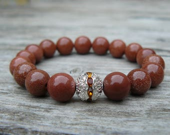 Beautiful Brown Aventurine Bracelet/ Sunstone bracelet/ Gemstone bracelet/ Woman beaded bracelet/