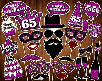 65th Birthday Photo Booth Props - Printable PDF - INSTANT DOWNLOAD - 65th Birthday Party Supplies - Purple Glitter Props