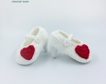 High Heels Baby Shoes, Crochet Baby Shoes, Handmade Baby Shoes