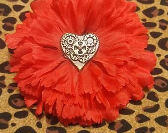 Steampunk Heart Hair Flower