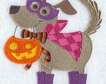 Caped Canine, Embroidered Halloween Dish Towel, Cute Halloween Decoration, Halloween Kitchen Towel, Dog Tea Towel, Halloween Decoration