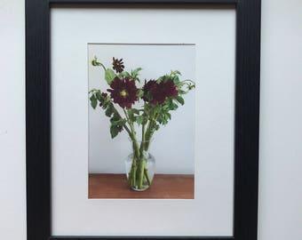 FOOD PHOTOGRAPHY PRINT - farmers market produce art - kitchen art - fine art print - dahlias - flowers - purple - vase