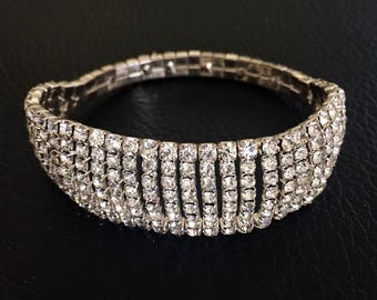 Sparkly clear rhinestone and silver tone expandable bracelet