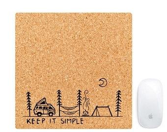 Halten Sie Es Einfach Große Verkauf Maus Pad Gemacht Mit Echtem Korkholz    Mousepads