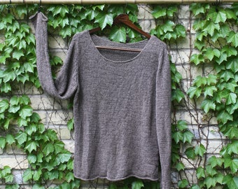 Light Brown/Taupe Linen Weave Summer Sweater Size Medium/Large