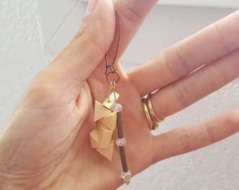 Wooden, metal bronze, gold and copper triangle earrings.
