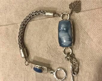 Owyhee Blue Opal Viking Knit Double Weave Sterling Silver Bracelet, Sterling Silver Bracelet