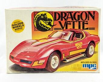 Super Rare Vintage MPC Dragon Vette 1/25 Scale Model Car 1-3718