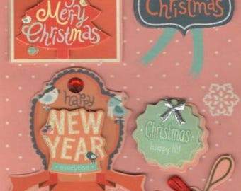 Christmas and Happy New Year decoration stickers 3D stickers