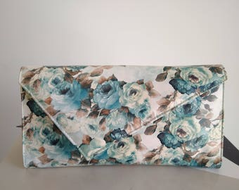 Printed floral leather bag