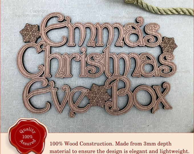 Personalised Snowflakes 'Christmas Eve Box' Topper, Sign, Swirly Font, Wooden Plaque. Advent Box Topper, Children's Christmas Eve Gift