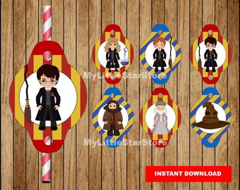 Harry Potter Straw Toppers, Printable Harry Potter Straw Tags , Harry Potter party Straw tags Instant download