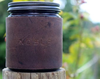 Leather Candle - Leather Scented Soy Candle - Leather Wrapped Candle