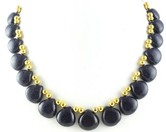 "Blue Sunstone Gemstone,Sunstone Briolette Beads,11"" Long,Sunstone,Blue Color,Beads,Smooth Sunstone,Heart Shape,Sunstone Beads,15-18mm,Sale"