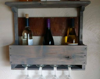 handmade rustic wallmounted wooden wine rack and wine glass holder with display
