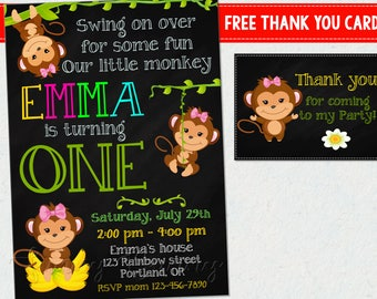 Monkey birthday invitation Monkey invitation printable Girl first birthday party supplies 1st birthday outfit Jungle invite Animal thank you