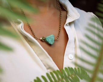 R I P P L E | Handmade Brass Bar Necklace with Amazonite Stone